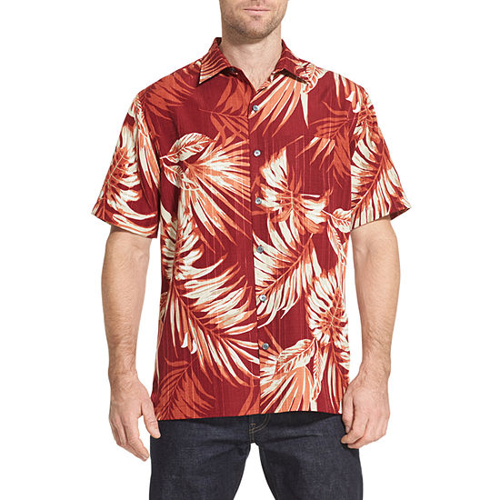 Van Heusen Air Sandwashed Printed Camp Short Sleeve Button-Front Shirt