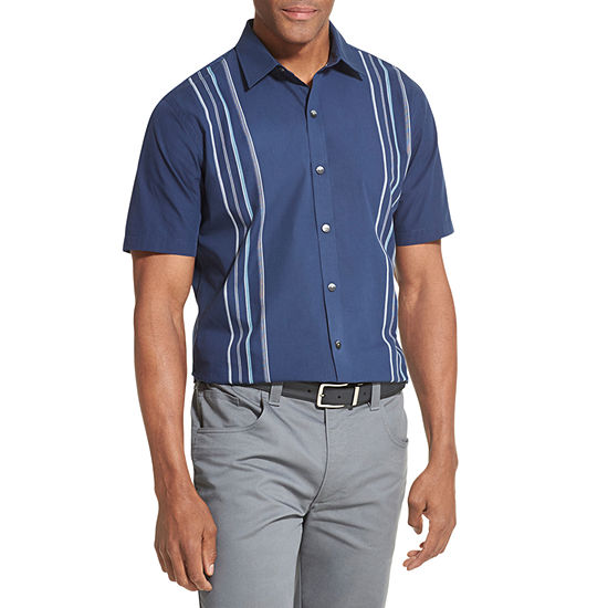 Van Heusen Air Textured Camp Mens Short Sleeve Cooling Moisture Wicking Striped Button Front Shirt