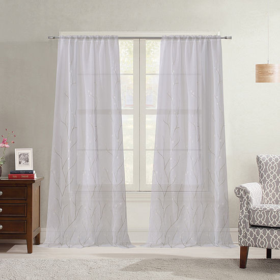 Bella Valenti Vine Sheer Rod-Pocket Curtain Panel