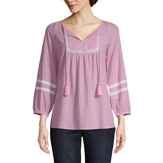 St Johns Bay Womens V Neck 3 4 Sleeve Lace Blouse