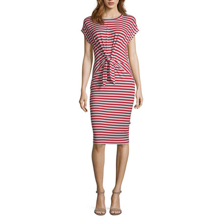 Liz Claiborne Ibiza Waves Short Sleeve Striped Sheath Dress, Small , Red