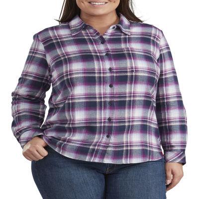 Dickies® Long Sleeve Flannel Plaid Shirt - Plus