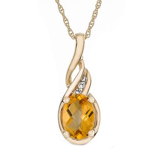 Womens Diamond Accent Genuine Yellow Citrine 10K Gold Pendant Necklace