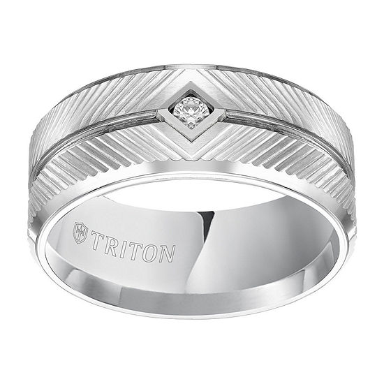10MM 1/10 CT. T.W. Genuine White Diamond Tungsten Round Wedding Band