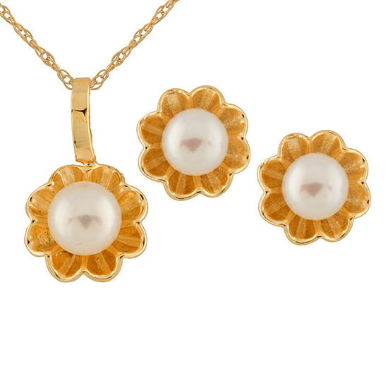 Cultured Freshwater Pearl 14K Gold 2-pc. Jewelry Set
