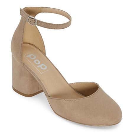 Vintage Shoes, Vintage Style Shoes Pop Womens Gal Block Heel Pumps 9 Medium Beige $27.99 AT vintagedancer.com