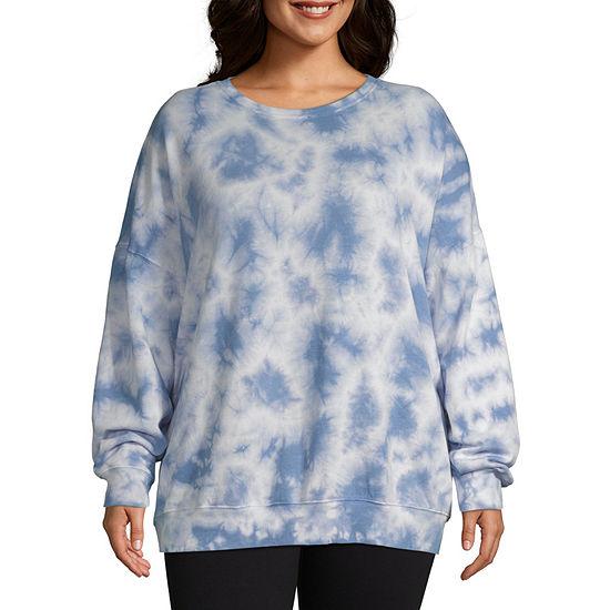 Flirtitude-Juniors Plus Womens Crew Neck Long Sleeve Tie Dye Pullover Sweatshirt