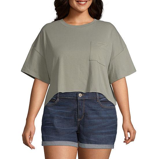 Flirtitude Juniors Plus-Womens Crew Neck Short Sleeve T-Shirt