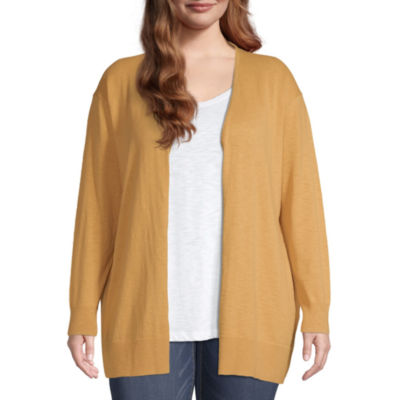 a.n.a-Plus Womens Long Sleeve Slub Cardigan