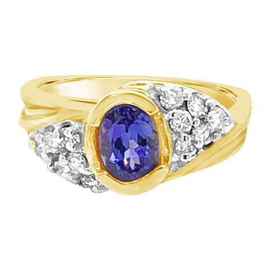 LIMITED QUANTITIES! Le Vian Grand Sample Sale™ Ring featuring Blueberry Tanzanite® 1/2 CT. T.W. Vanilla Diamonds® set in 14K Honey Gold™