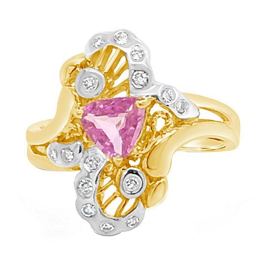 Le Vian Grand Sample Sale™ Ring featuring Bubble Gum Pink Sapphire™ 1/6 CT. T.W. Vanilla Diamonds® set in 14K Honey Gold™