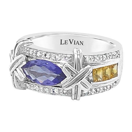 LIMITED QUANTITIES! Le Vian Grand Sample Sale™ Ring featuring Blueberry Tanzanite® Yellow Sapphire 1/5 CT. T.W. Vanilla Diamonds® set in 18K Vanilla Gold®