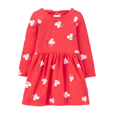 Carter's - Toddler Girls Long Sleeve Hearts A-Line Dress