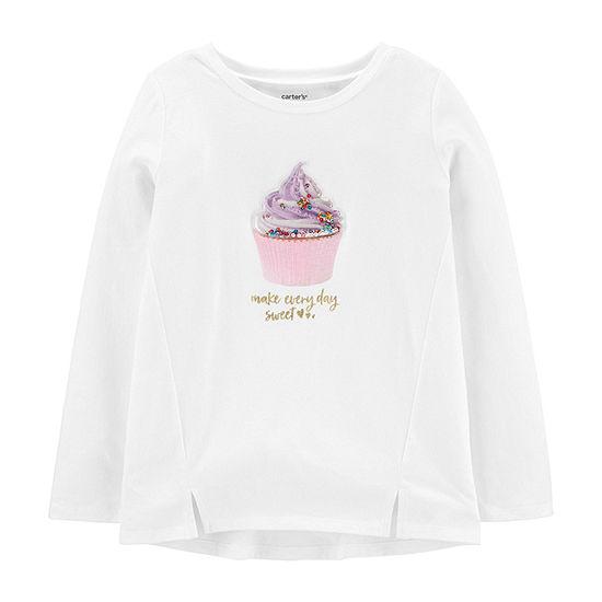 Carter's Girls Round Neck Long Sleeve Graphic T-Shirt - Preschool / Big Kid