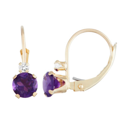 10k Gold Genuine Amethyst Drop Earrings