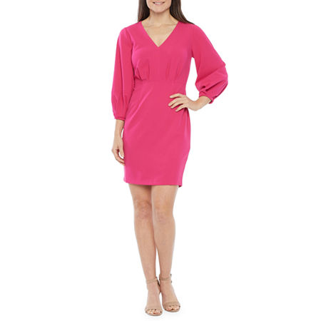 80s Dress Styles | Party, Prom, Formal Ivy  Blue 34 Sleeve Sheath Dress 4  Pink $37.49 AT vintagedancer.com