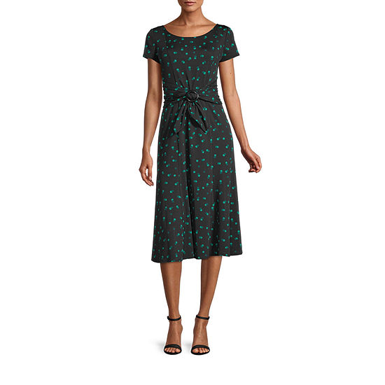 Perceptions Short Sleeve Dots Midi Fit & Flare Dress