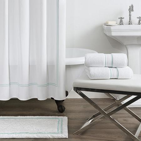 Fieldcrest Luxury Border Stripe Shower Curtain, One Size , Blue