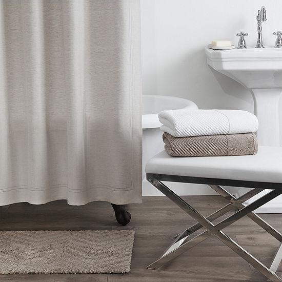 Fieldcrest Luxury Linen Blend Herringbone Shower Curtain