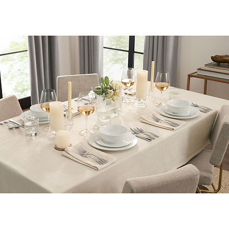 Fieldcrest Luxury Cotton-Linen Herringbone Tablecloth, One Size , Beige