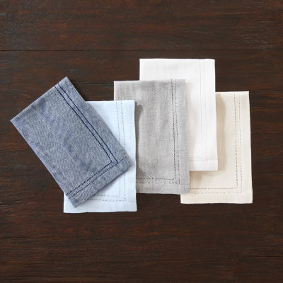 Fieldcrest Luxury Cotton-Linen Herringbone 4-pc. Napkins