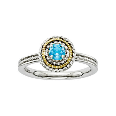 Personally Stackable Two-Tone Blue Topaz Ring