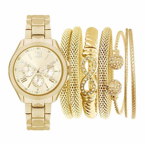Womens Gold-Tone Watch Box Set