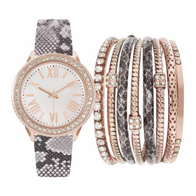 Womens Rose-Tone Metal Watch Box Set