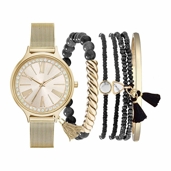 Fashion Watches Womens Gold-Tone Watch Boxed Set