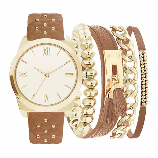 Womens Brown Leather 5-pc. Watch Boxed Set-Jc2030g569-044