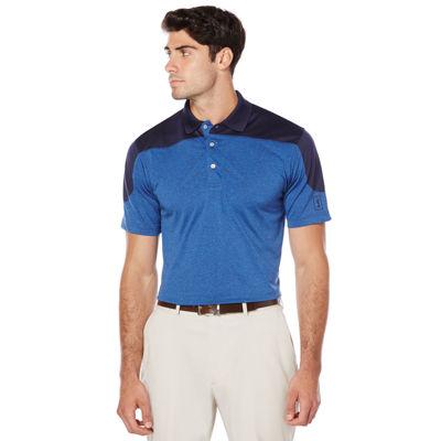 PGA Tour Short Sleeve Heathered Colorblock Polo Shirt