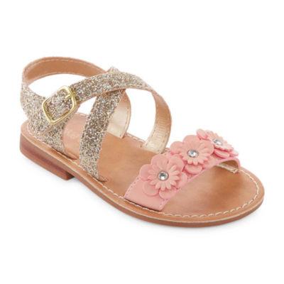 Okie Dokie Shine Girls Flat Sandals - Toddler