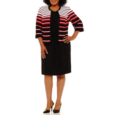 Studio 1 Sleeveless Stripe Jacket Dress - Plus