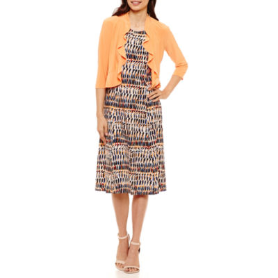 Danny & Nicole 3/4 Sleeve Jacket Dress-Petites