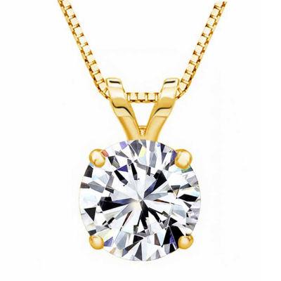 Swarovski Womens White Zirconia 14K Gold Pendant Necklace