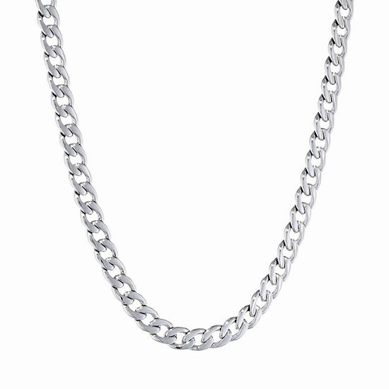 Stainless Steel 22 Inch Solid Curb Chain Necklace