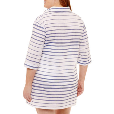 Wearabouts Stripe Woven Swimsuit Cover-Up Dress-Plus