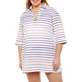 104c06904c Wearabouts Stripe Woven Swimsuit Cover-Up Dress-Plus