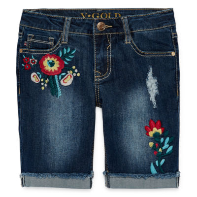 Vgold Skinny Fit Denim Bermuda Shorts - Big Kid Girls
