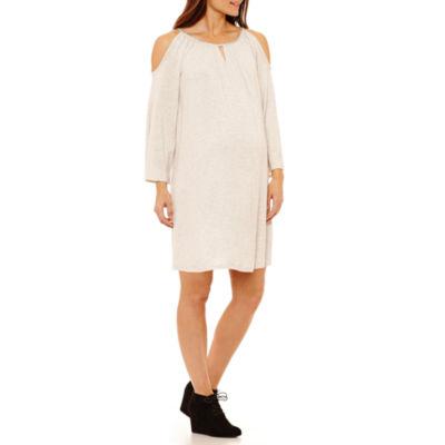 Tiana B Long Sleeve Trapeze Dress - Maternity