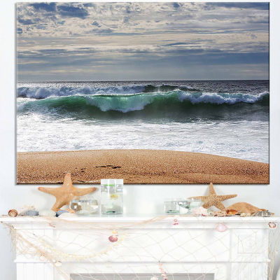 Design Art Blue Waves And Blue Sky Seashore Canvas Print