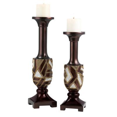 Ore International Polymosaic Candleholder Set