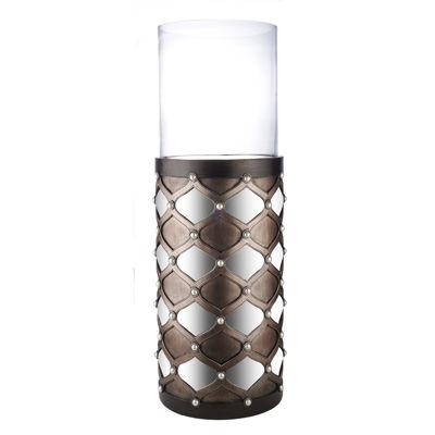 "Ore International 31"" Arabesque Mirror Floor Candleholder"