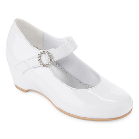 1940s Children's Clothing: Girls, Boys, Baby, Toddler Christie  Jill Little KidBig Kid Girls Heart Mary Jane Shoes Round Toe Size 13 Medium White $34.00 AT vintagedancer.com