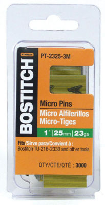 Bostitch Stanley PT-2325-3M 1IN 23 Gauge Galvanized Micro Pin 3000 Count