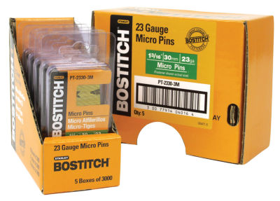 "Bostitch Stanley PT-2330-3M 1-3/16"" 23 Gauge Galvanized Micro Pin 3000 Count"