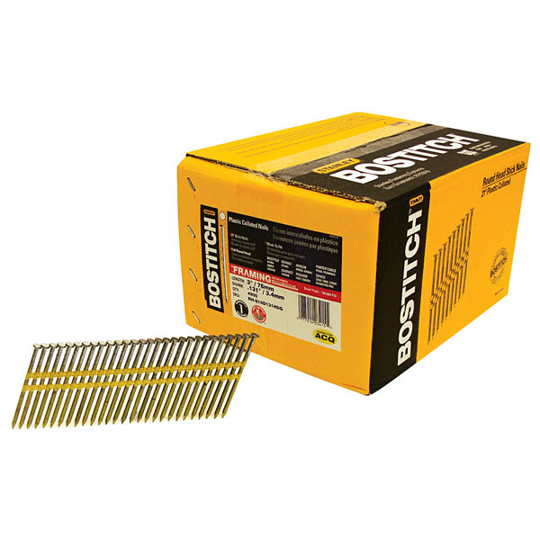 Bostitch Stanley RH-S10D131HDG 3IN Smooth Shank Plastic Collated Stick Framing Nails