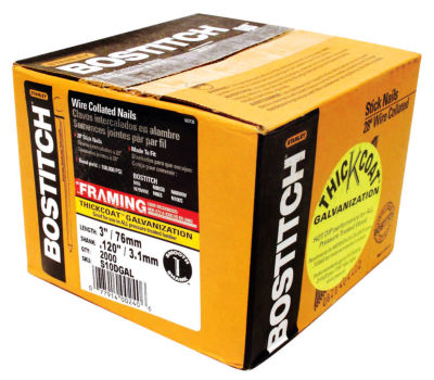 "Bostitch Stanley S10DGAL-FH 3"" Thickcoat Galvanized 28¼ Stick Framing Nails 2000 Count"