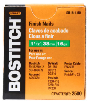 Bostitch Stanley SB16-1.50 1-1/2IN Coated 16 GaugeStraight Finish Nails 2500 Count