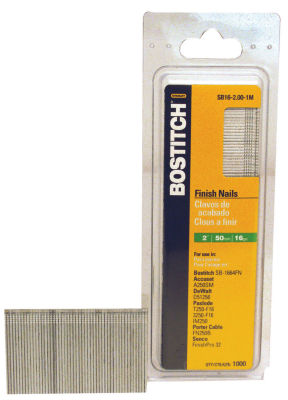 "Bostitch Stanley SB16-2.00 2"" Coated 16 Gauge Straight Finish Nails 2500 Count"